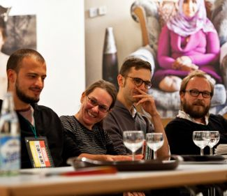 Artist talk at Münchner Stadtmuseum with Lorenzo Maccotta, Julia Krüger, Julian Röder  and Heinrich Völkel. (Photo: Matthias Oertel)